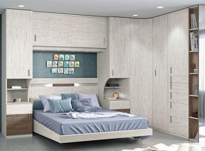 Dormitorio puente matrimonio moderno con armario rincón