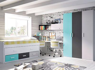 Dormitorios juveniles camas compacta ocultas con cajones (varios colores)