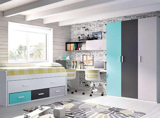 dormitorios juveniles camas compacta ocultas con cajones y escritorio 006ON0161