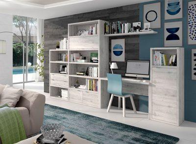 Escritorio para salón con librerías y estantería