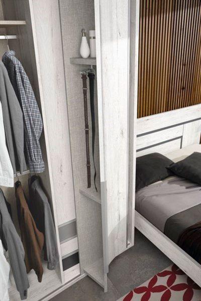 Estructura cama 150×190 con cabecero y mesita 2 cajones con aspecto madera color blanco