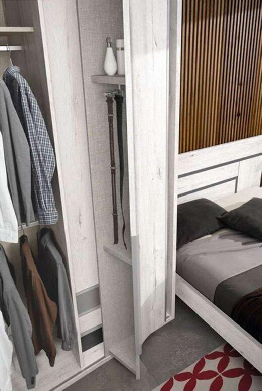 cama matrimonio estructura 150x190 cabecero mesita cajones madera blanco 015OR0132
