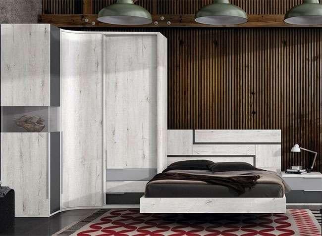 Estructura cama 150x190 cabecero mesita 2 cajones madera color blanco - Estructura cama cajones ...