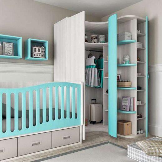 habitacion infantil barandilla cuna curva convertible con cajones y cambiador armario opcional 259SM1112
