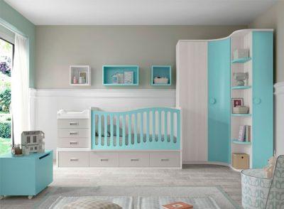 Habitación infantil con cuna de barandilla curva convertible con cajones y cambiador + armario rincón (opcional)