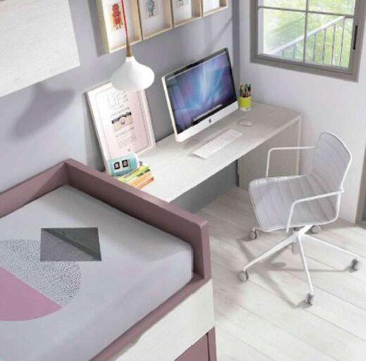 habitacion juvenil doble compacto cama escritorio 259FO0043