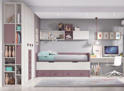 Habitaciones juveniles dobles compactas modernas con cama inferior deslizable