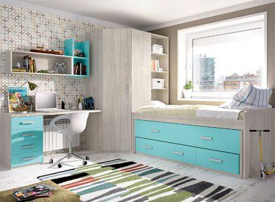 Habitaciones juveniles modernas cama nido cajones y arcón con escritorio color acero y azul