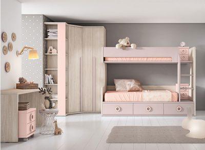 Litera niños doble con cajones + escritorio y mesitas (armario opcional)