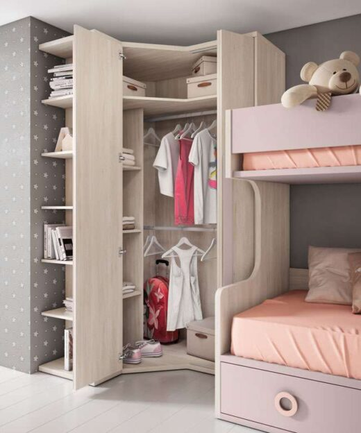 litera doble ninos armario opcional con cajones escritorio y mesitas 024UP5073