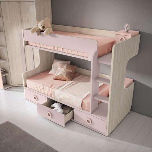 litera con cajones ninos doble escritorio y mesitas pastel 024UP5072