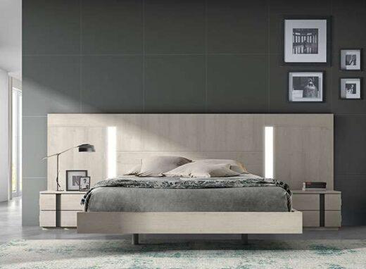 matrimonio cama flotante compacto cabecero luz mesitas moderno 259EO1021