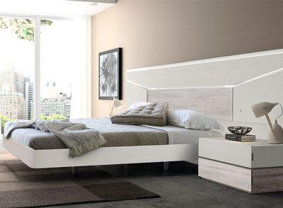 Habitación matrimonio modular con base para cama volada, cabezal con iluminación y mesitas