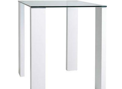 Mesa alta cuadrada cristal 4 patas blancas
