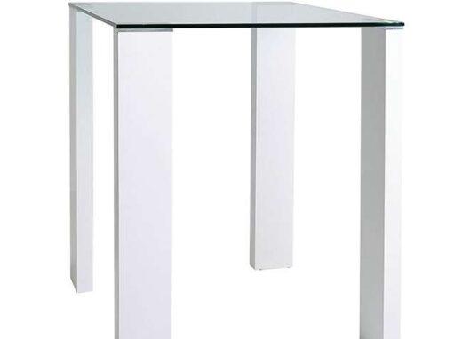 mesa cuadrada alta cristal 4 patas blancas 612ME0171