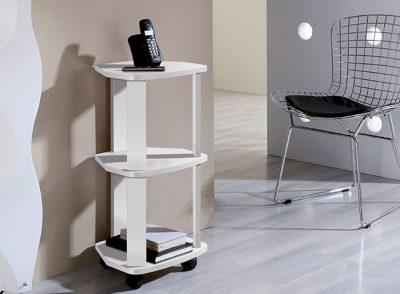 Mesa auxiliar alta de 3 estantes con ruedas