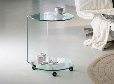 Mesa auxiliar de cristal redonda moderna de 2 tapas
