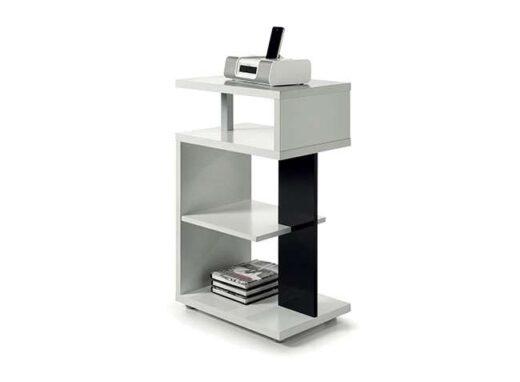 mesa auxiliar blanco negro moderna original estantes 162HO100283