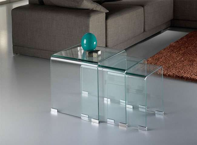Mesa Auxiliar Nido De Cristal Cuadrada
