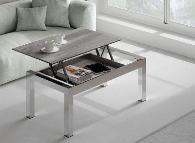 Mesa baja elevable moderna con 4 patas de acero inoxidable modelo Malta