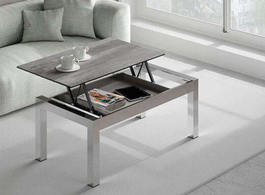 mesa elevable baja moderna 4 patas acero inoxidable 054CE008
