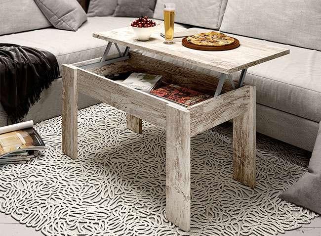 Mesa baja elevable para sal n color roble vintage de 4 patas - Mesa salon roble ...