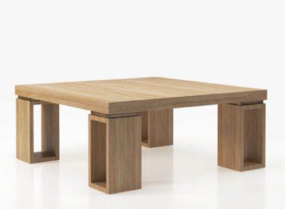 Mesa de centro de 100 x 100 cm de madera con 4 patas diseño moderno (personalizable)