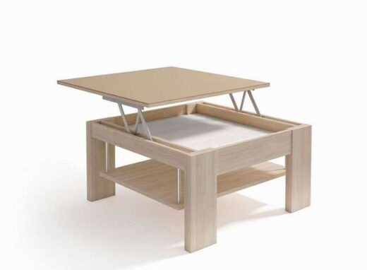 mesa centro 80x80 elevable moderna doble revistero 239CE004