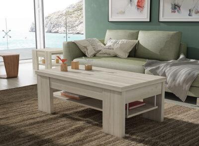 Mesa de centro convertible en mesa de comedor rectangular madera