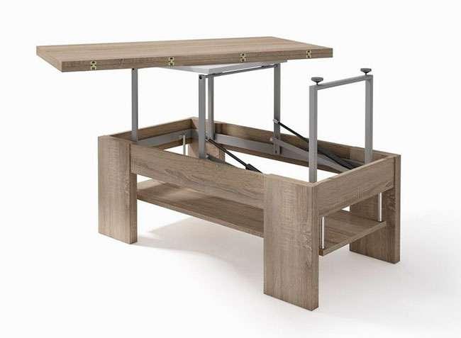 Mesa centro convertible en mesa comedor rectangular color madera
