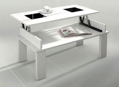Mesa de centro elevable de 4 patas y tapa con 2 cristales estilo contemporáneo