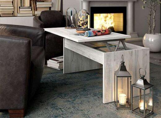 mesa elevable centro sencilla blanco vintage moderna 076CE012