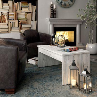 Mesa de centro elevable sencilla en color blanco vintage moderna (disponible en otros colores)