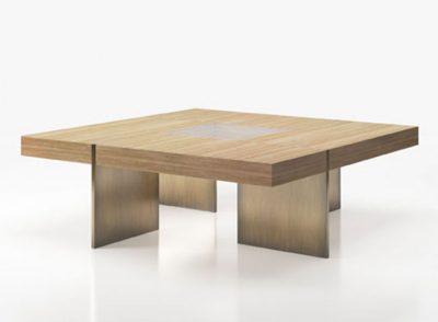 Mesa de centro estilo contemporáneo con tablero de madera y cristal y soporte metalizado (Personalizable)