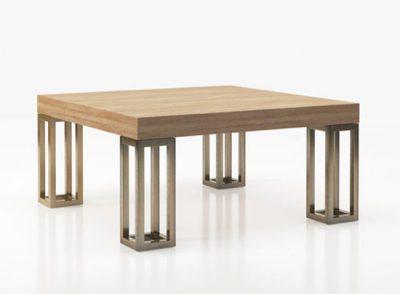 Mesa de centro moderna con 4 patas grandes metalizadas y tablero de madera rectangular (Personalizable)