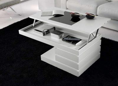 Mesa de centro moderna minimalista elevable blanca