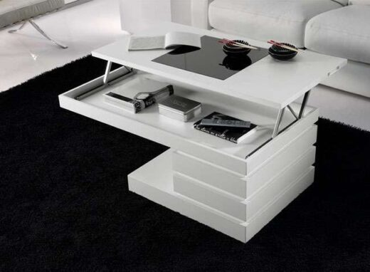 mesa moderna centro minimalista elevable blanca 067CE011