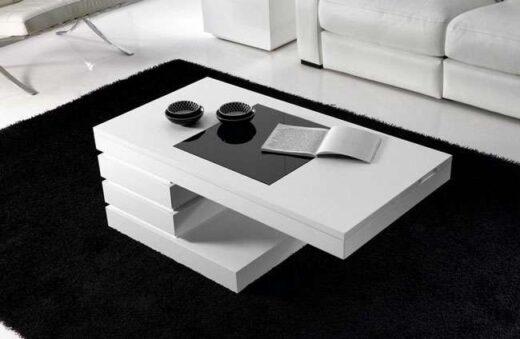mesa centro moderna minimalista elevable blanca cerrada 067CE0112