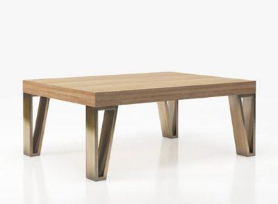 Mesa de centro original con tablero de madera y 4 patas metalizadas (Personalizable)