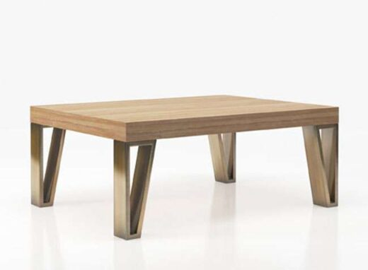 mesa original centro tablero madera patas metalizadas 295CE017