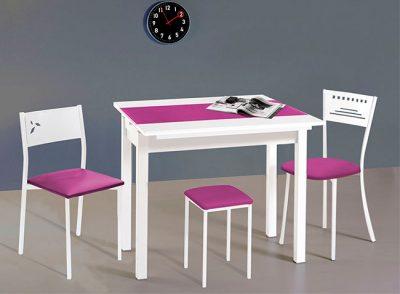 Mesa de cocina de tapa de cristal extensible de 2 alas