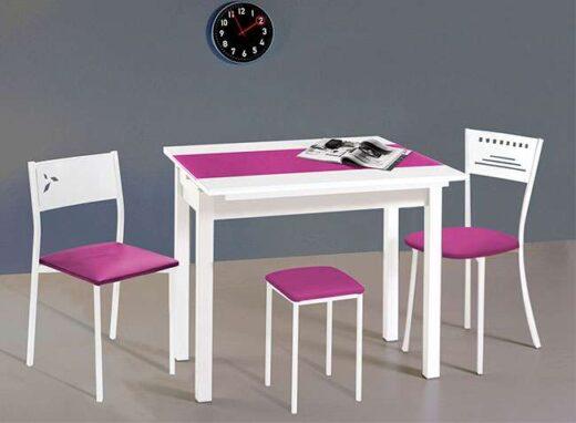 Mesa de cocina de tapa de cristal extensible de 2 alas bicolor