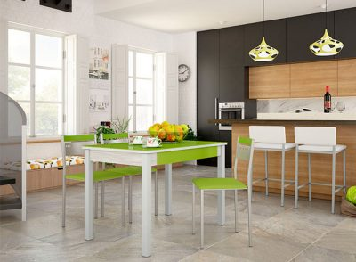 Mesa de cocina con tapa de cristal rectangular con 4 patas y cajón