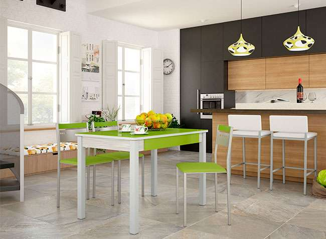 Mesa cocina con tapa de cristal rectangular, 4 patas y cajón
