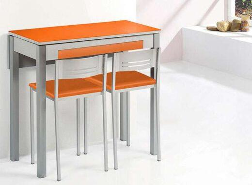 Mesa de cocina extensible de 1 ala plegable y cajón