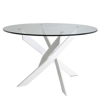 Mesa comedor de cristal con patas cromadas semitrenzadas