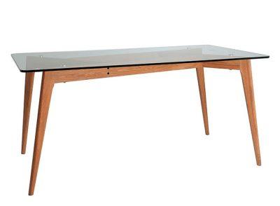 Mesa de comedor estilo nórdico con tablero de cristal