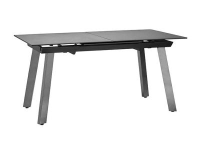 Mesa de comedor extensible rectangular construida en cristal, cerámica y metal