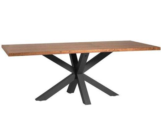 Mesa de comedor madera con patas negras cruzadas industrial
