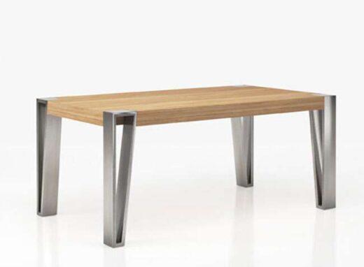 Mesa comedor con patas de horquilla grandes y encimera de madera  (personalizable)